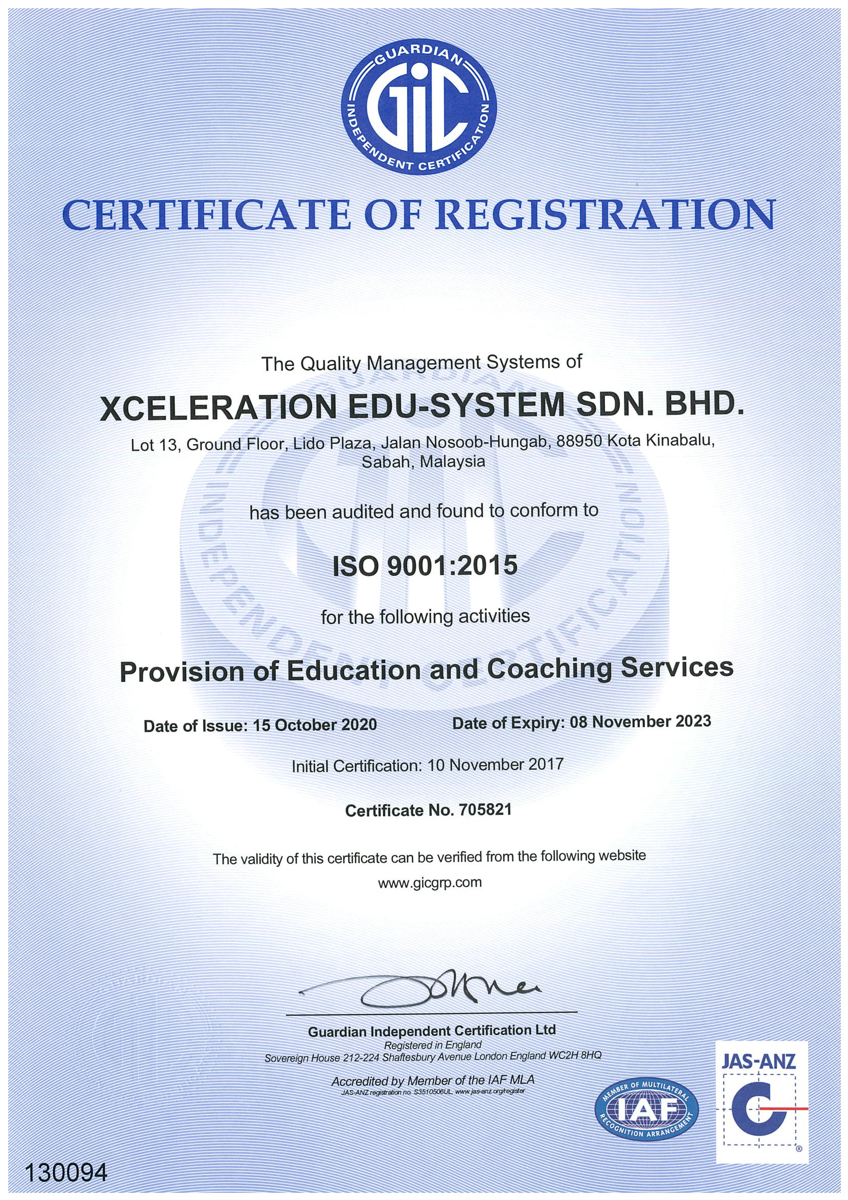 ISO 9001:2015 Certified | Xceleration Education